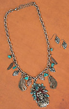 Colorful Indian Head Charm Necklace & Earring Set