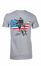 Southern Moonshine Men's Heather Grey with American Flag with Horse Screen Print Short Sleeve T-Shirt