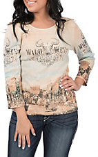 Fornia Women's Wild West Long Sleeve Casual Knit Shirt