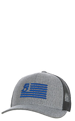 Stackin Bills Grey and Black with Blue Logo Flag Cap