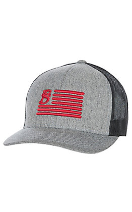 Stackin Bills Grey and Black with Red Logo Flag Cap
