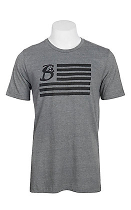 Stackin Bills Men's Grey and Black U.S. Flag Logo S/S T-Shirt