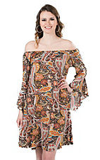 James C Women's Mustard and Black Paisley Print Long Bell Sleeve Dress