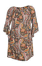 James C Women's Mustard and Black Paisley Print Long Bell Sleeve Dress - Plus