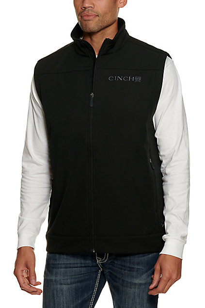 Cinch Men's Black With Grey Logos Bonded Vest by Cinch