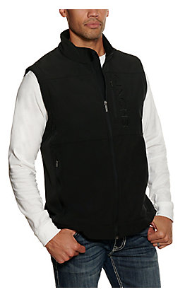 Cinch Men's Black Bonded with Black Logo and Concealed Carry Pocket Vest