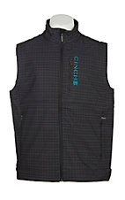Cinch Men's Black Grid Print Bonded w/ Turquoise Logo Cavender's Exclusive Vest