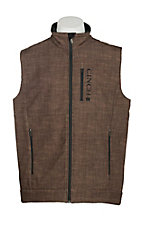 Cinch Men's Brown Grid Print Bonded w/ Black Logo Cavender's Exclusive Vest