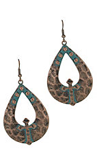 Patina Oval and Cross Earrings