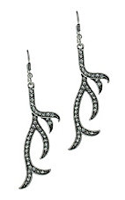 Silver Antler Bling Earrings