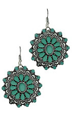 Silver and Turquoise Medallion Earrings