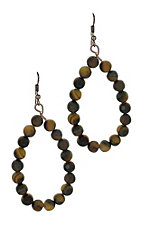 Brown Beaded Teardrop Earrings