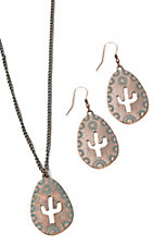 Amber's Allie Patina Cactus Necklace and Earrings Jewelry Set
