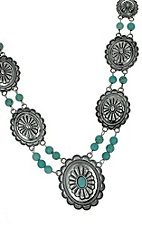 Silver Conchos with Turquoise Necklace