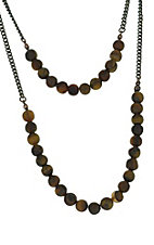 Brown Beaded Layered Necklace