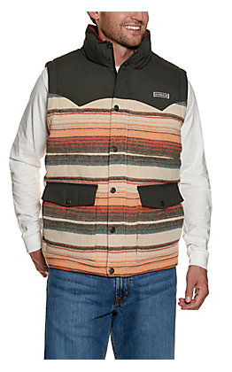 Cinch Men's Grey & Orange Blanket Stripe Quilted Polyfill Vest