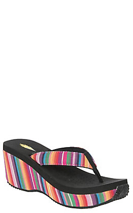 Volatile Women's Black with Multi Colored Fabric Wedge Sandals