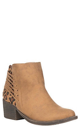Very Volatile Merrick Women's Tan and Leopard Faux Leather & Lace Up Accents Booties