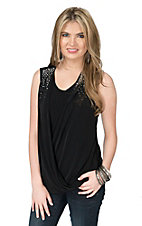 Ethyl Women's Black Drape Front Top with Studs