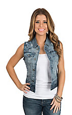 Grace in LA Women's Embroidered Denim Vest