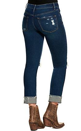 Vervet Women's Dark Wash Mid Rise Cuffed Crop Jeans