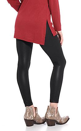 Women's Black Faux Leather Leggings