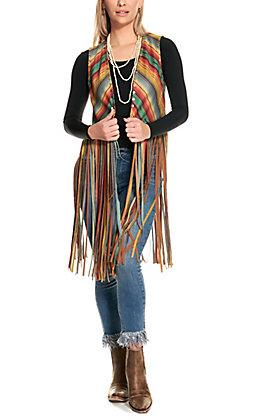 Fashion Express Women's Serape with Studs Long Fringe Vest