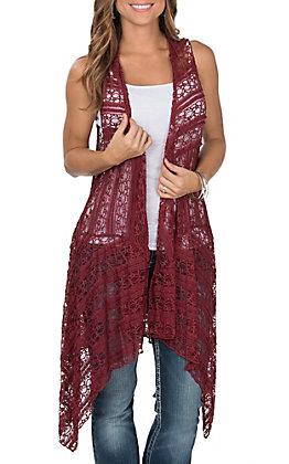 Honeyme Women's Burgundy Lace Vest