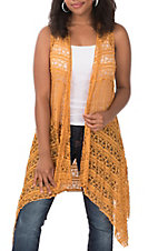 Honeyme Women's Mustard Lace Vest