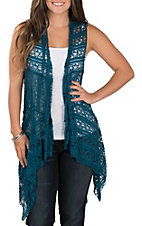 Honeyme Women's Teal Lace Vest
