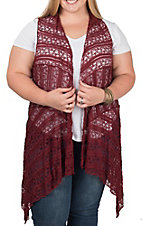 Honeyme Women's Burgundy Lace Vest - Plus Size