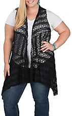 Honeyme Women's Black Lace Vest - Plus Size