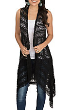 James C Women's Black Lace Vest