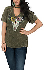 Vintage Havana Women's Emerald Green Floral Skull Print Cage V-Neck Collar S/S Casual Knit Shirt