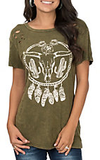 Vintage Havana Women's Olive Bull Cactus Dream Short Sleeve Casual Knit Top