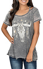 Vintage Havana Charcoal Feather Bull Skull Short Sleeve Casual Knit Tee