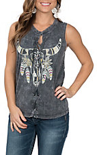 Vintage Havana Women's Charcoal Feather Bull Lace Up Tank