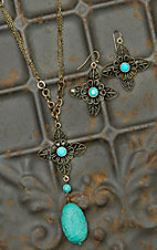 Brass Multi-Chain with Turquoise Flower Necklace & Earrings Jewelry Set VA154