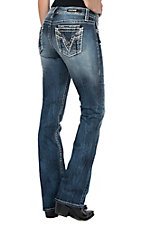 Vigoss Women's Medium Wash V Embroidery Dublin Boot Cut Jeans