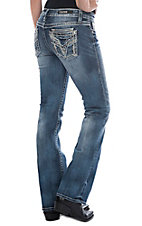 Vigoss Women's Medium Wash Frayed Pocket Stitch Dublin Boot Cut Jeans