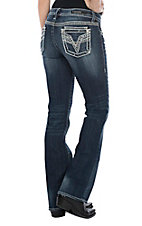 Vigoss Women's Dark Wash V Stitch Dublin Boot Cut Jeans