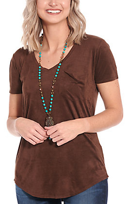 Another Love Women's Chocolate Suede V-Neck Pocket Short Sleeve Top