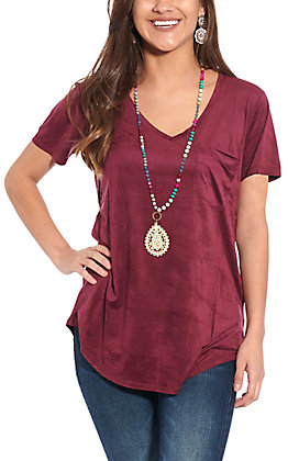 Another Love Women's Purple Suede Fashion Top