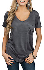 Another Love Women's Grey Phoenix Faux Suede Short Sleeve Fashion Shirt