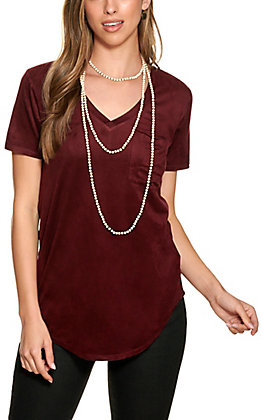 Another Love Women's Burgundy Faux Suede Short Sleeve Top