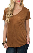 Another Love Women's Tan Phoenix Faux Suede Short Sleeve Fashion Shirt