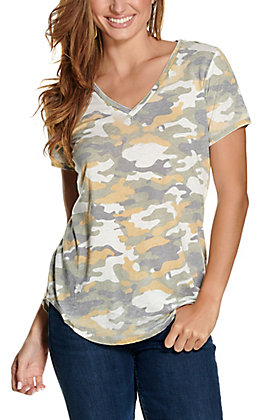 Another Love Women's Valentina Olive and Mustard Camo Short Sleeve V-Neck Tee