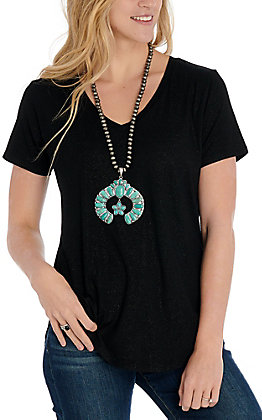 Another Love Women's Black Sparkle V-Neck Top