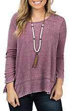 Another Love Women's Burgundy Valerie Thermal Long Sleeve Casual Knit Shirt