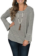 Another Love Women's Olive Valerie Thermal Long Sleeve Casual Knit Shirt